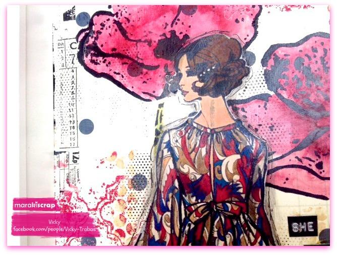 Tutorial cuadro art journal She,  con Vicky