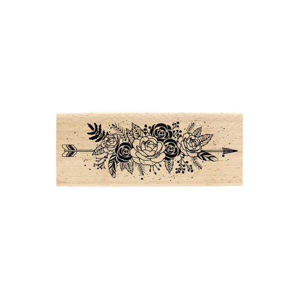 Sello de madera Fleurs et plumes
