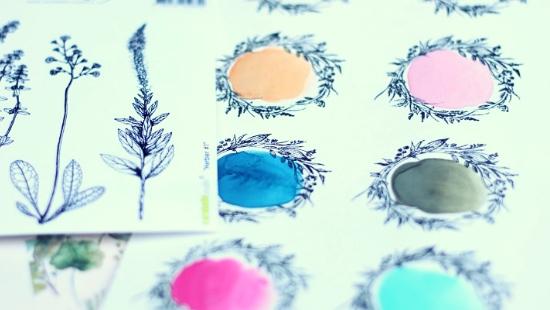 Muestrario con sellos y color