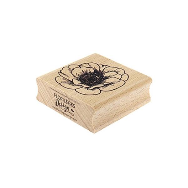Sello de madera Florilèges Design Fleur éclose   MarakiScrap.com