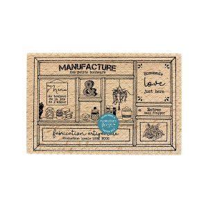 Sello de madera Florilèges Design modelo Manufacture du bonheur | MarakiScrap.com