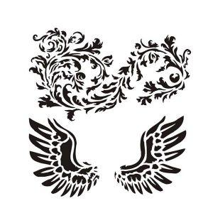 Stencil mixed media 13arts modelo Wings with ornament | MarakiScrap.com