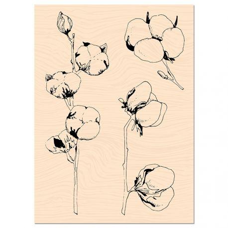 Sello de madera Fleurs de coton Les ateliers de Karine