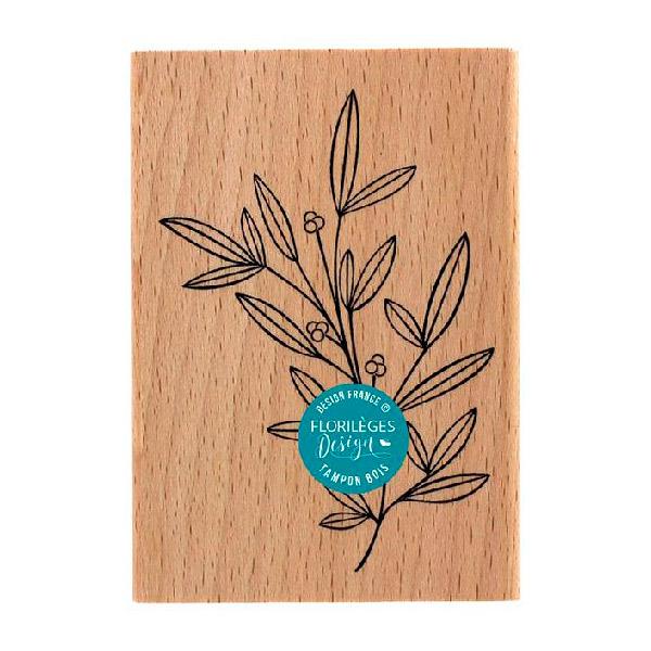 Sello de madera Doux feuillage Florileges Design   Marakiscrap.com