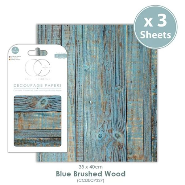 Papel decoupage Blue Brushed Wood