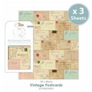Papel decoupage Vintage Postcards