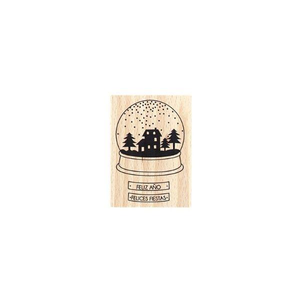 sello de madera felices fiestas | Marakiscrap.com