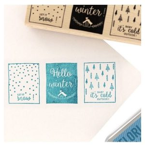 Sello de madera hello winter florileges design | Marakiscrap.com