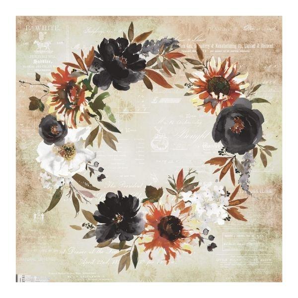 papel estampado corona de flores