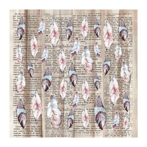 papel estampado plumas y texto