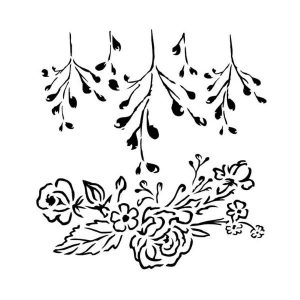Stencil 15 x 15 roses with branch 13 arts