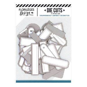 Die Cuts Etiquettes Beige Angora N18 Florileges Design | Marakiscrap.com