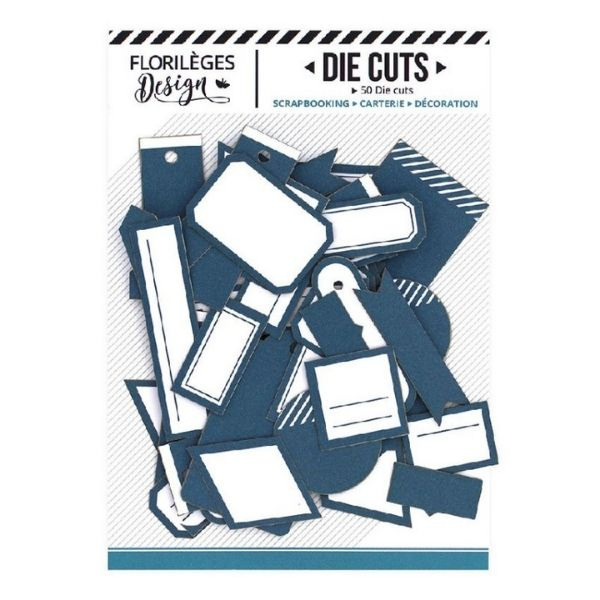 Die Cuts Etiquettes Bleu Canard N1 Florileges Design   Marakiscrap.com
