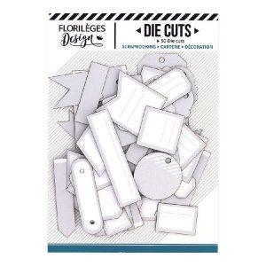 Die Cuts Etiquettes Gris Doux N4 Florileges Design | Marakiscrap.com