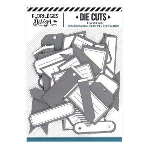 Die Cuts Etiquettes Gris Orage N10 Florileges Design | Marakiscrap.com