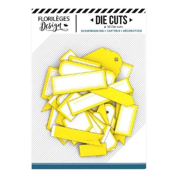 Die Cuts Etiquettes Jaune Soleil N3 Florileges Design   Marakiscrap.com