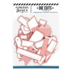 Die Cuts Etiquettes Rose Corail N16 Florileges Design | Marakiscrap.com