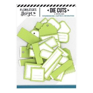 Die Cuts Etiquettes Vert Bourgeon N12 Florileges Design | Marakiscrap.com