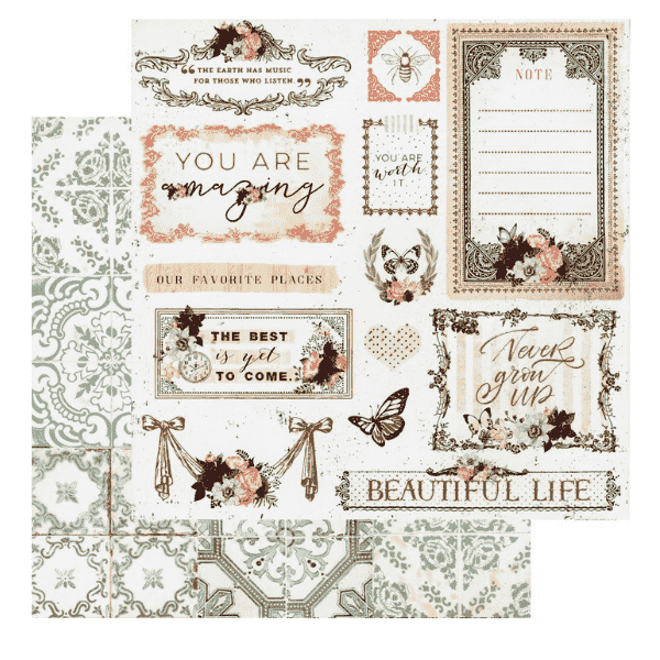 Papel Estampado Beautiful Life Pretty Mosaic Collection Prima Marketing   Marakiscrap.com