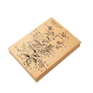 sello de madera bouquet flores bordado