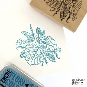 sello de madera composition de feuilles