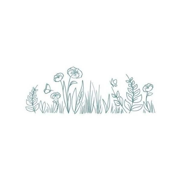 sello de madera flores de campo