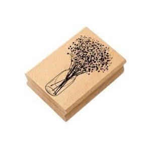 sello de madera jarron de flores