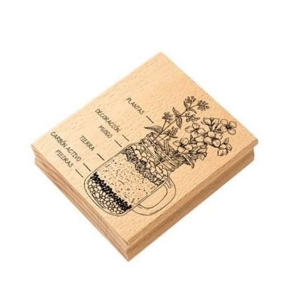 sello de madera jarron floral sustratos