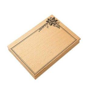 sello de madera marco floral