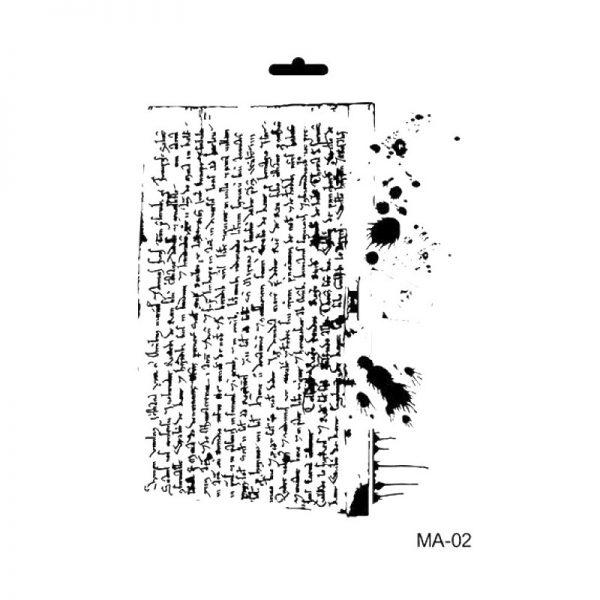 stencil mix media cadence texto y manchas