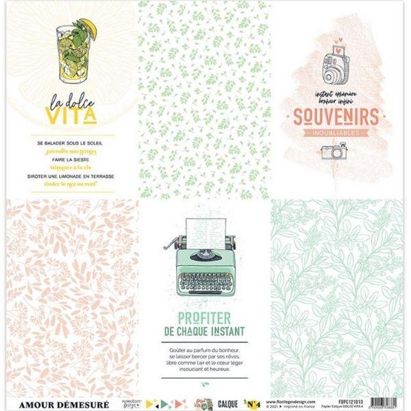 Kit Papeles de Calco 30x30 Dolce Vita Florileges Design   Marakiscrap.com