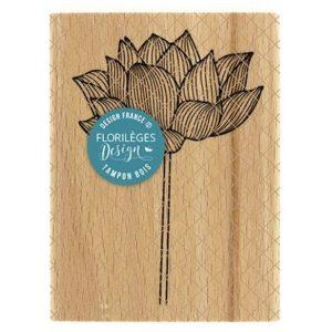 Sello Madera Lotus Solitaire Florileges Design |