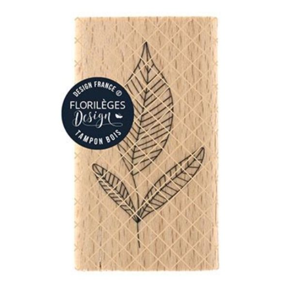 Sello Madera Trois Feuilles Florileges Design | Marakiscrap.com