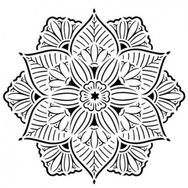 Stencil 6x6 Spring Doily Aida Domisiewicz 13arts | marakiscrap.com
