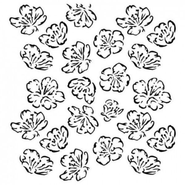 Stencil 6x6 Spring Flowers Aida Domisiewicz 13arts | Marakiscrap.com