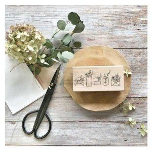 sello de madera enveloppes fleuries chou and flowers