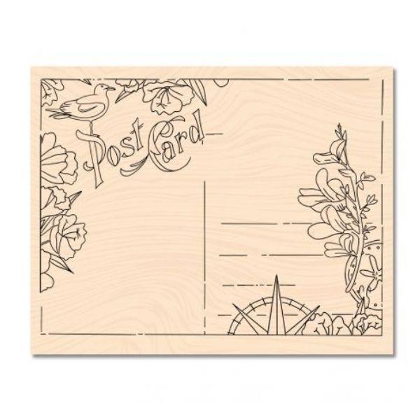 Sello de madera a contre courant carte postale les ateliers de karine
