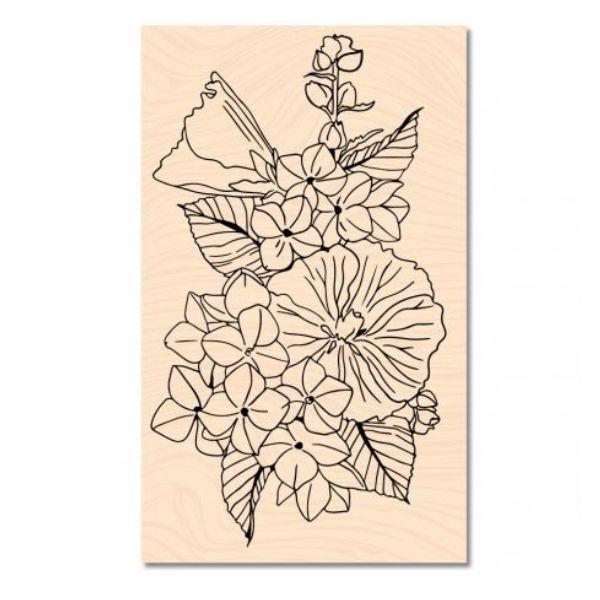 Sello de madera a contre courant fleurs d ete les ateliers de karine
