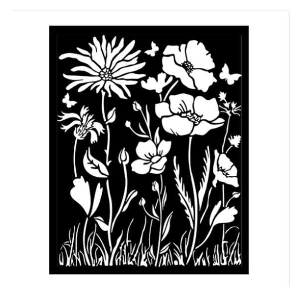 Stencil grueso atelier amapola y flor