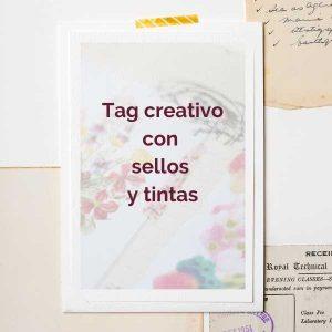 Tag creativo con sellos y tintas